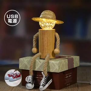 テーブルランプ アンティーク 木製 人形 ランプ USB式 全2色 おしゃれ LED 電球色 テーブルライト デスクライト ナチュラル インテリア 照明 卓上ライト レトロ 北欧 かわいい 雑貨 プレゼント