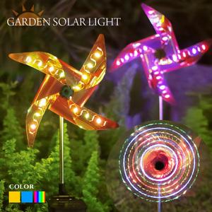 ガーデンライト ソーラー 風車 ウインドスピナー 2本セット LED 全3色 屋外 埋め込み 防水 自動点灯 玄関 庭 花壇 太陽光 充電式 照明 クリスマス ハロウィン
