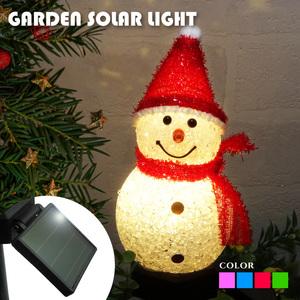 ソーラー イルミネーション スノーマン サンタ ガーデンライト 屋外用 ソーラー充電式 おしゃれ かわいい イルミネーションライト 埋め込み式 クリスマス 飾り付け 庭 玄関 プレゼント 雪だるま